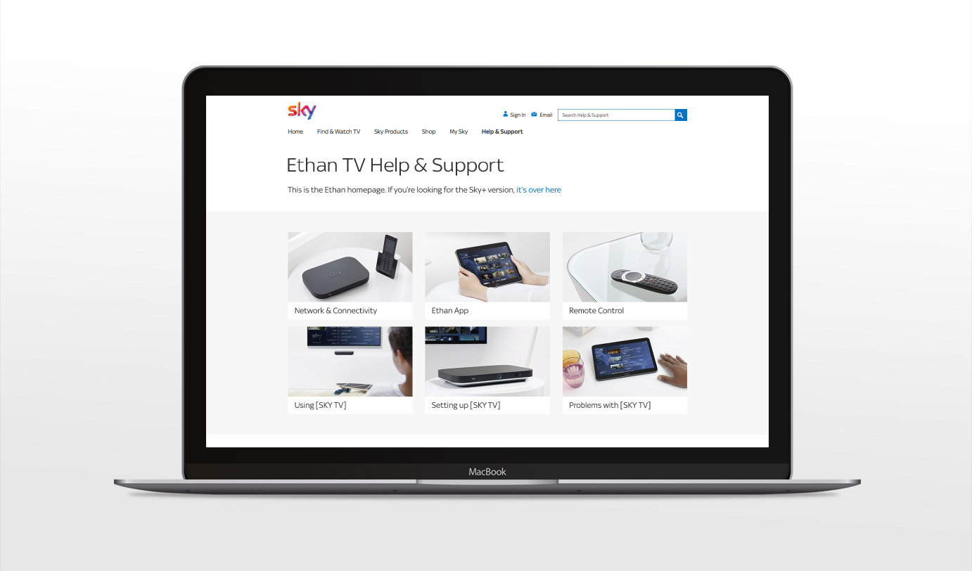 Screenshot of Sky Help and Support page
