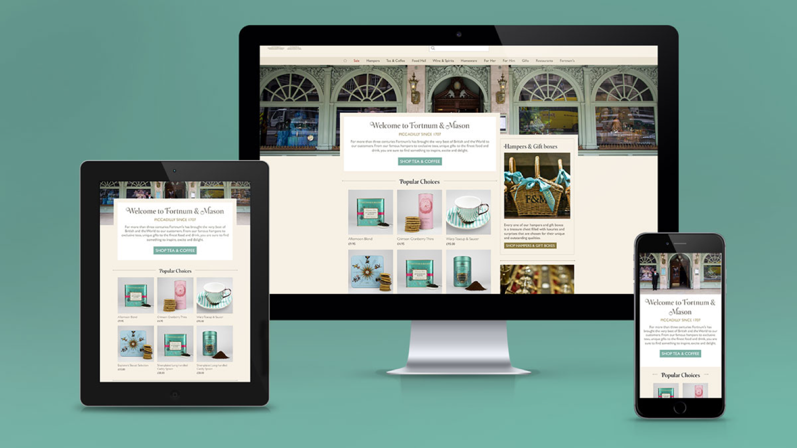 Fortnum & Mason website on desktop, tablet and mobile devices