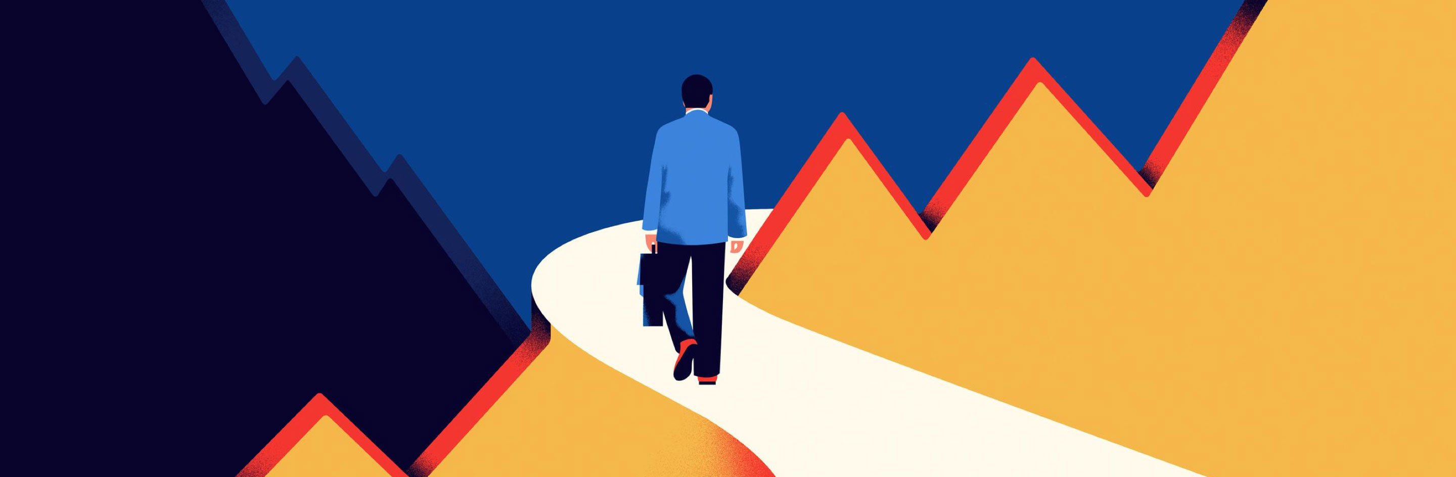 Illustration of a brief-case carrying man in a suit walking along a path through stylised mountains.