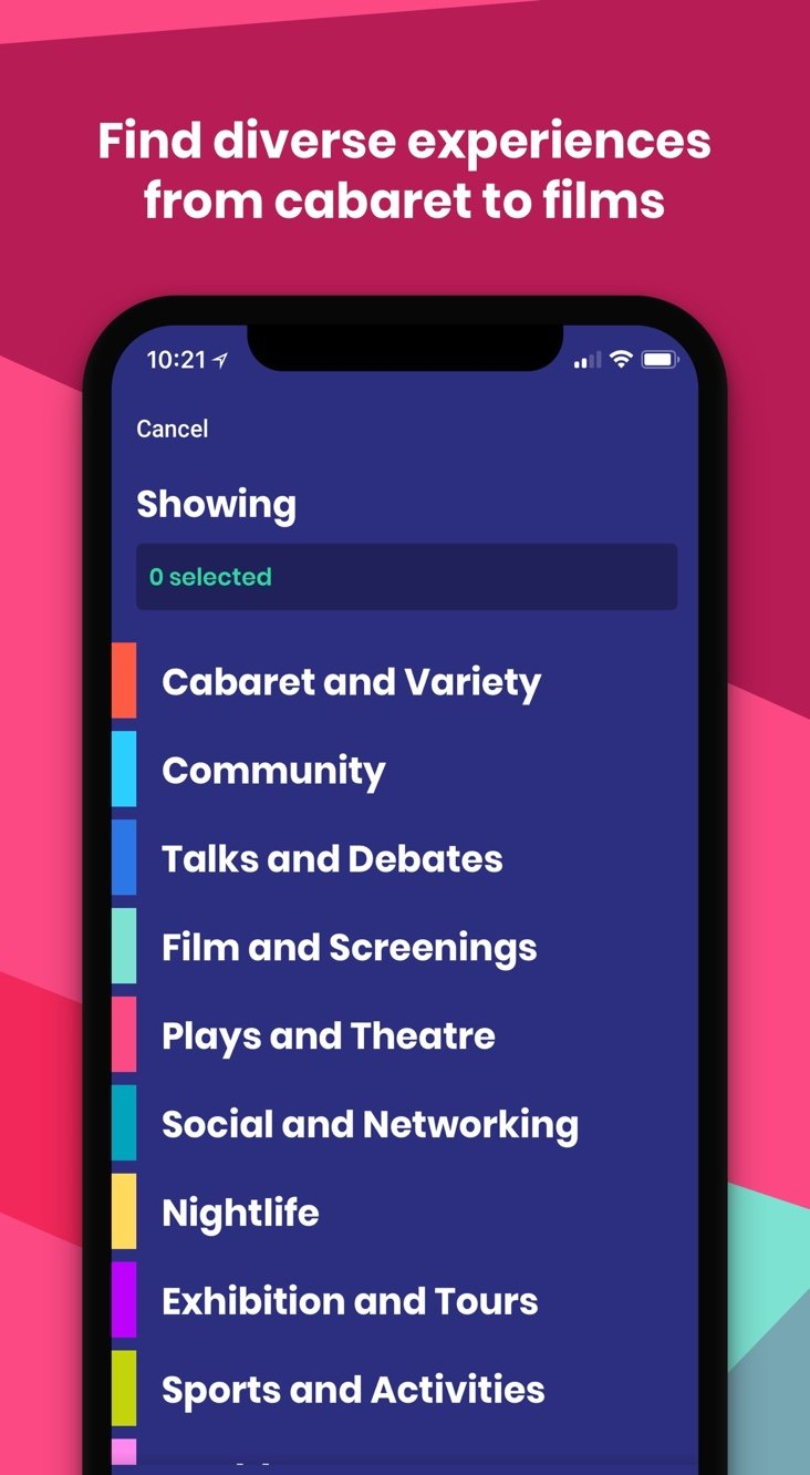 Phone with the Pride app on in screen displaying a list of event categories, text reads: 'Find diverse experiences from cabaret to films'