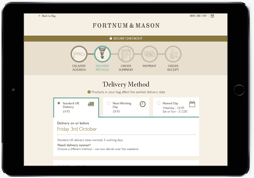 A tablet showing Fortnum & Mason delivery site