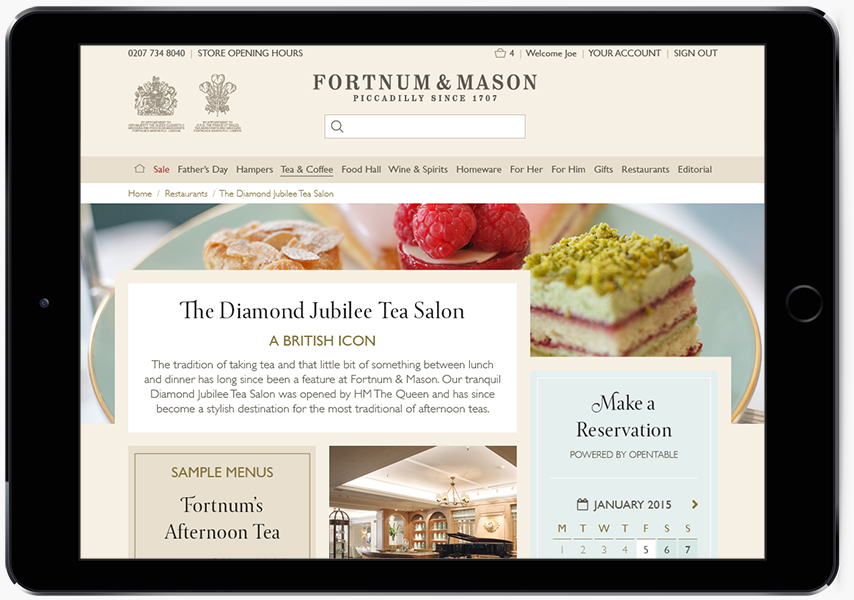 A tablet showing Fortnum & Mason tea website